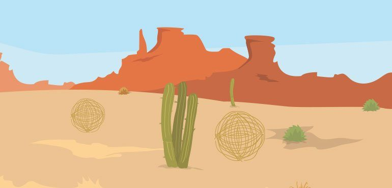 skills to look for in a good story telling narrator - illustration of a desert