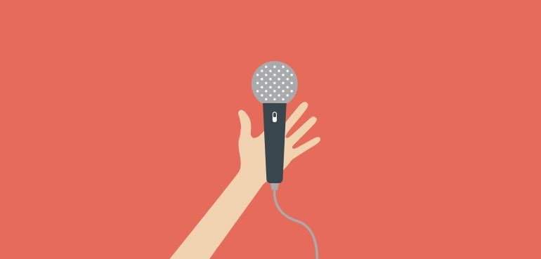 skills to look for in a good story telling narrator - illustration of a microphone