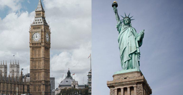British vs American voice over - big ben statue of liberty