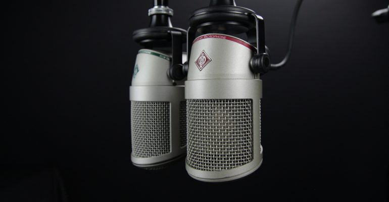 Finding the Best Narrator For Your Next Commercial - two Neumann condenser Microphones