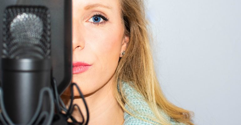Vocal Variety - Female voice artist and her microphone