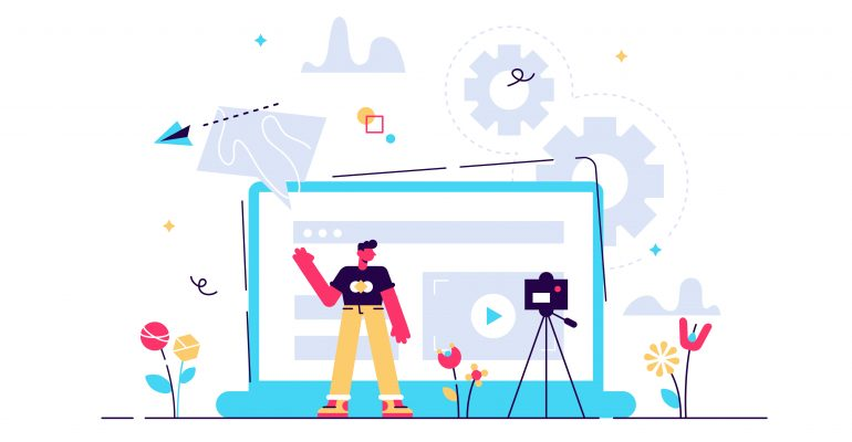 Explainer Videos Why Hire a Pro Voice Actor - Animated image of man and laptop