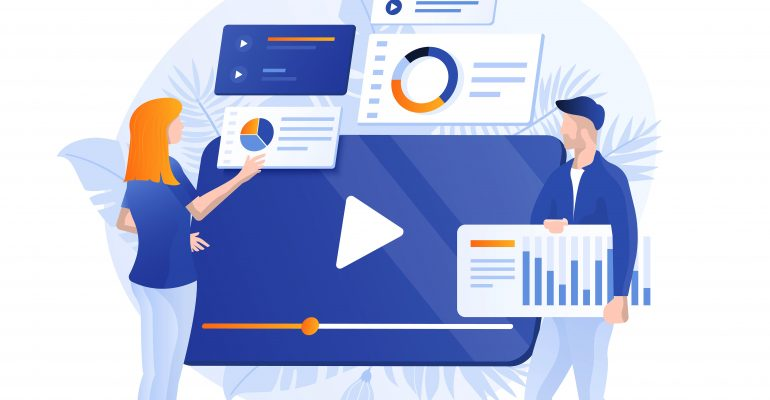 Explainer Videos Why Hire a Pro Voice Actor - Animated image of two professionals with graphs