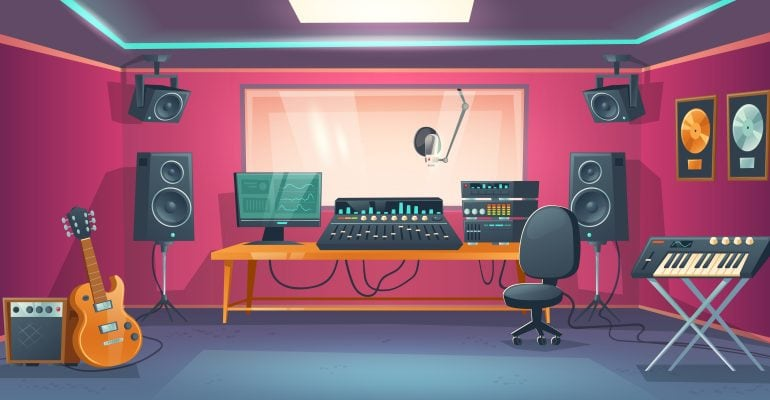 Finding the Right Music For Your Marketing Video —Animated Image of Recording Studio