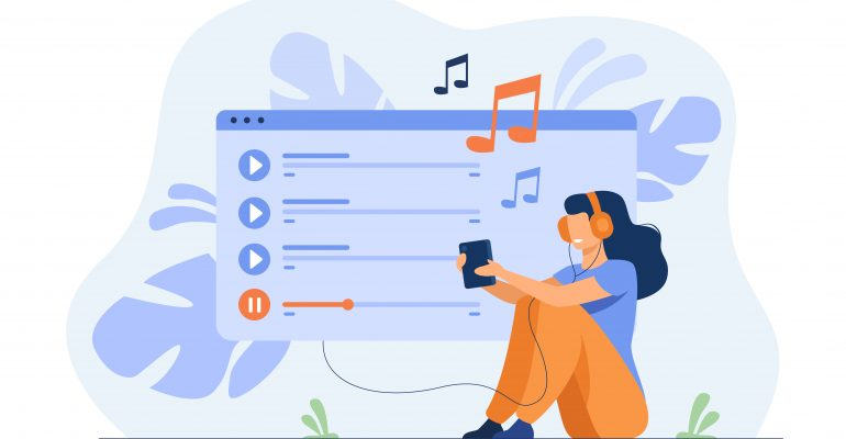 Finding the Right Music for Your Marketing Video —Animated Image of Person with Headphones