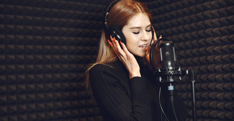Characteristics of Voice Over - Female voice actor recording